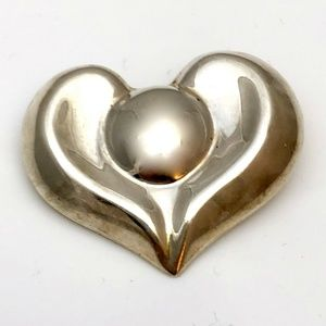 Sterling Silver Heart Brooch Pin Pendant Mexico